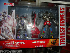 EXCLUSIVE TRANSFORMERS SILVER KNIGHT OPTIMUS PRIME AND GRIMLOCK , BOXED SET,