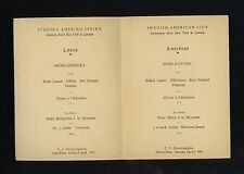 1935 TS Drottningholm Tourist Class Luncheon Menu - Swedish American Line SAL