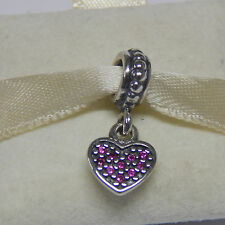 Authentic Pandora 791023CZR Bead Dangle Red Pave' Heart Box Included