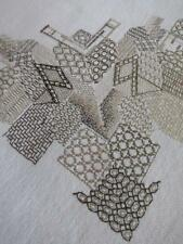 Inusual Vintage Mantel y 6 Servilletas-blackwork mano bordado
