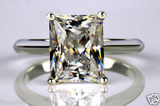 1.80 ct D/vs1 Emerald cut Solitaire Engagement Ring Real 14K white Gold