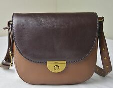 Fossil Emi Brown Multi Colorblock Leather Saddle Crossbody Messenger Bag