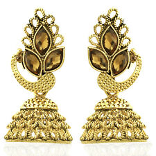 Spargz Antique Peacock Gold Plated Synthetics Stone Bollywood Jhumka AIER 922