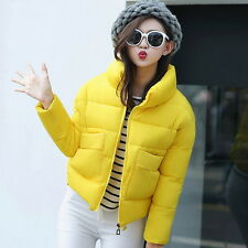 Women Winter Quilted Coat Cotton Collar Padded Jacket Puffer Crop Outerwear ^