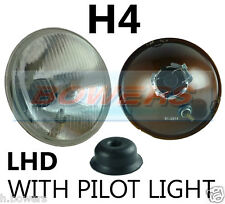 "7"" LHD FLAT LENS CLASSIC CAR HEADLAMP HEADLIGHT HALOGEN H4 CONVERSION WITH PILOT"