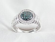 Blue Diamond Cluster Ring .30ct 925 Sterling Silver By Krementz Size 7