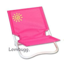 "Pink Folding Beach Chair Doll Furniture fits 18"" American Girl  Lovvbugg !Fun!"