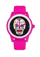 Pink & White Day Of The Dead Suger Skull Men's Or Ladies Silicone Wrist Watch
