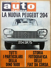 Auto Italiana - 1965 n° 17 - Peugeot 204 - Ferrari Dino 1600 - meccanica corse