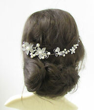 Ivory White Silver Diamante Pearl Hair Vine Bridal Headpiece Clip Headband 362