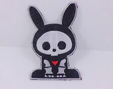 ONE RABBIT LOVE HEART SKELETON PUNK ROCKABILLY IRON ON PATCH