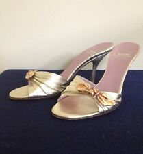 Moschino Cheap and Chic Gold Stilletos Slides Sandals Shoes Size 7 1/2 - 38
