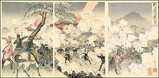 Original Japanese Woodblock Print: Sino-Japanese War Triptych: Ginko