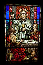 "+ Stained Glass Window #15 of 16, ""Jesus-Emmaus"" + Made by ""J.R. Lamb Studios"" +"