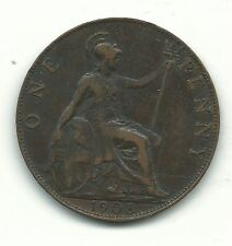 Very Nice High Grade Xf 1908 Great Britain English Large Penny Cent-Nov839