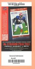 New England Patriots 2014 PRAC. ticket Bruce Smith Buffalo Bills photo Tom Brady