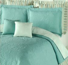 AQUA BLUE SHELL Full / Queen QUILT SET : GREEN COTTON MATELASSE BEACH SHELLS
