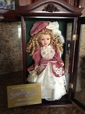 """Camellia Garden 16"""" Porcelain Doll In Wood And Glass Cabinet - 1999"""