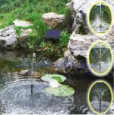 Solar Panel Powered Fountain Garden Pool Pond Water Pump Spray Features Black UK