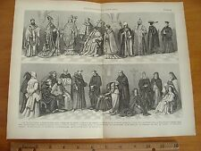 OLD 1886 ECCLESIASTICAL COSTUME ILLUSTRATION ANCIENT PRIEST BISHOP CARDINAL MONK