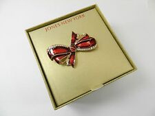 Jones New York   Brooch, Gold-Tone Red Bow Crystal Pin