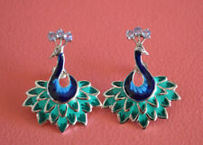 925 Sterling Silver Stud Rhodium Plating Tanzanite Gem Stones Peacock Earrings