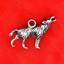 3 x Tibetan Silver Howling Wolf Twilight Finding Beading Jewellery Making