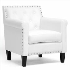 Baxton Studio Thalassa Arm White Accent Chair