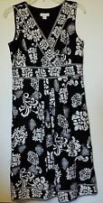 CHARTER CLUB SUMMER DRESS BLACK & WHITE WASHABLE COLD SIZE 8 100% COTTON VGC NS