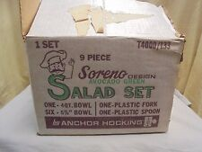 MINT UNUSED!! Anchor Hocking SORENO 9 Piece Salad Set Original Box & Utensils