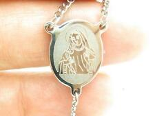 """Stainless Steel Hand Made Rosary Cross Laser Engraved Jesus Design 24"""" Necklace"""