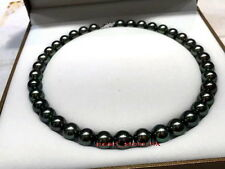 "AAAAA 18""10-11mm natural real round TAHITIAN black green pearl necklace 14K"