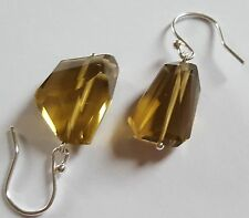Whisky Quartz Nuggets on Sterling Silver Dangle Earrings