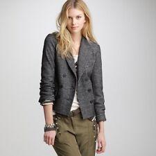 J. Crew Marled Gray Black Thandie Cotton Wool Blazer Jacket 8