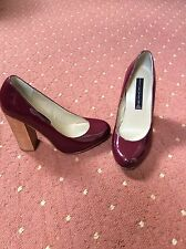 Brand New Steven Madden Patent Maroon Red Purple Wooden Block Heels Size UK 3