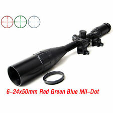 New 6-24x50 Red/Green/Blue Scope Sight Hunting11mm weaver picatinny Mount