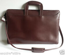 "Burgundy bridle hide leather business briefcase with shoulder strap (17""x12""x3"")"