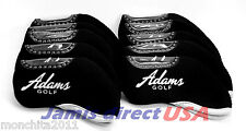 NEW! ADAMS Golf Iron Head Covers 10pcs Set  BLACK Color Headcover Club US SELLER