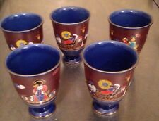 "5 Asian Painted Porcelain China Cups Signed Scene Ship Rick Shaw 4"" Vintage"