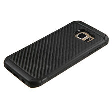 For Samsung Galaxy S7 Edge Carbon Fiber Hybrid Protective Hard Case Cover Black