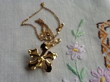 22 carat gold plated orchid flower pendant/brooch with 40cm chain, beautiful!