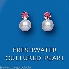 9ct Yellow Gold Real Ruby & Freshwater Pearl Stud Earrings - UK Made Hallmarked