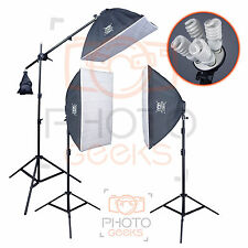 Continuous Softbox Studio Lighting Kit - 3 Head 2700w - Photography Video Photo