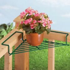 Outdoor Deck Plant Shelf Patio Rail Pot Holder Railing Flower Stand Corner Rack