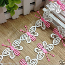 pink Delicate butterfly Embroidered Applique Net Lace Trim Sewing DIY Craft 1yd