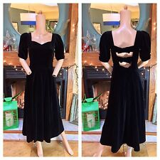 Vintage Laura Ashley Black Velvet Victorian Tea Open Back Bows Princess Dress SM