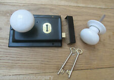 CLASSIC OLD ENGLISH RIM DOOR LOCK AND KNOB HANDLE SET-  White porcelain knobs
