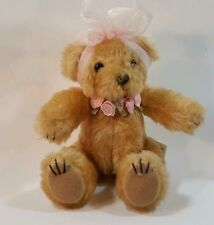 "Ganz Small Plush Stuffed Jointed Teddy Bear Pink Sheer Bow Roses 6.5"" BC7391"
