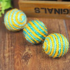 Funny Pet Cat Kitten Teaser Sisal Rope Weave Ball Play Chewing Catch Toy ACTPLUS