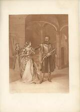 ANTIQUE VENICE ITALY VENETIAN COSTUME MOORISH SWORD OTHELLO DESDEMONA OLD PRINT